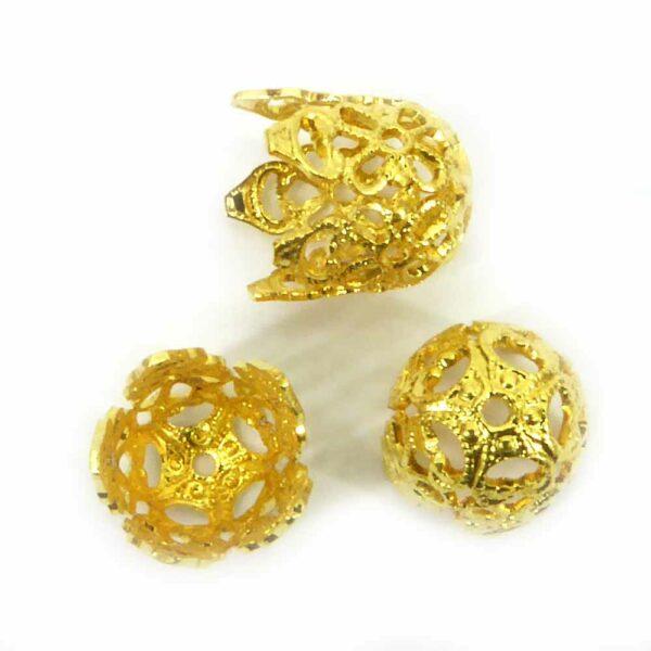 Perlkappen in gold-gebeizt in filigraner Ausführung für Klosterarbeiten