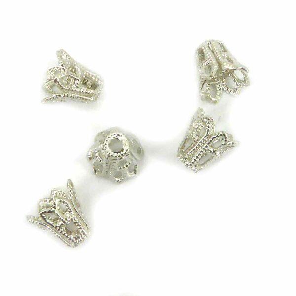 Perlkappen in antik-silber in Kelchform für Klosterarbeiten