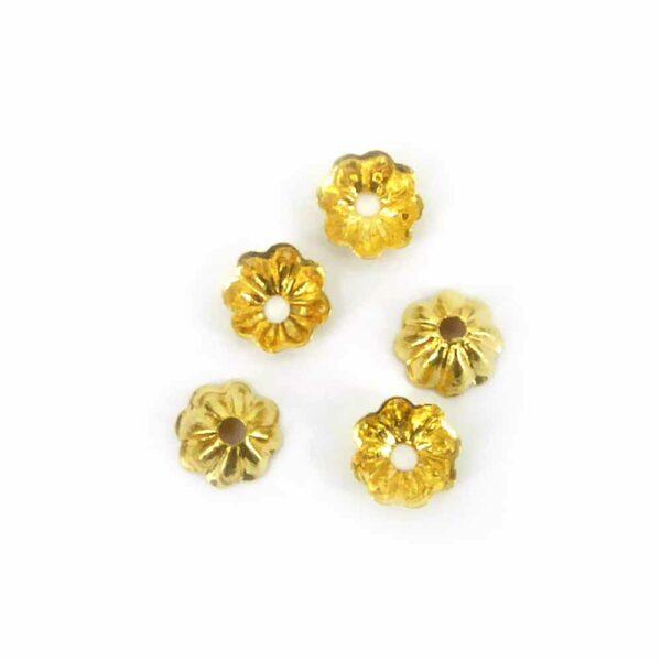 Perlkappen in gold-gebeizt in Form einer Schüssel für Klosterarbeiten