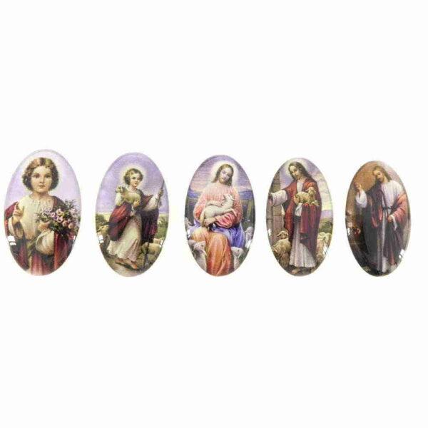 Heiligenbilder in oval aus Kunststoff für Klostearbeiten