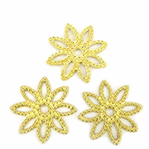 Perlkappen in gold un Blütenform für Klosterarbeiten