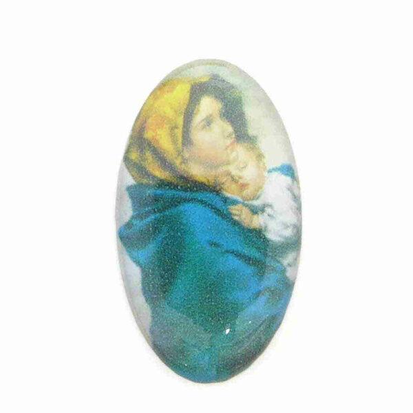 Heiligenbild aus Kunststoff in oval für Klosterarbeiten