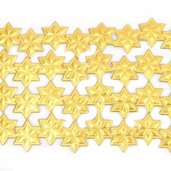 Papiersterne in gold und geprägt für Klosterarbeiten