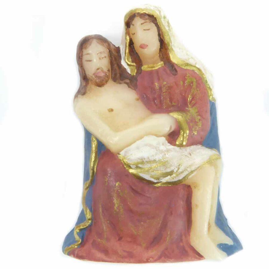 Pieta aus Wachs in handbemalt für Klosterarbeiten