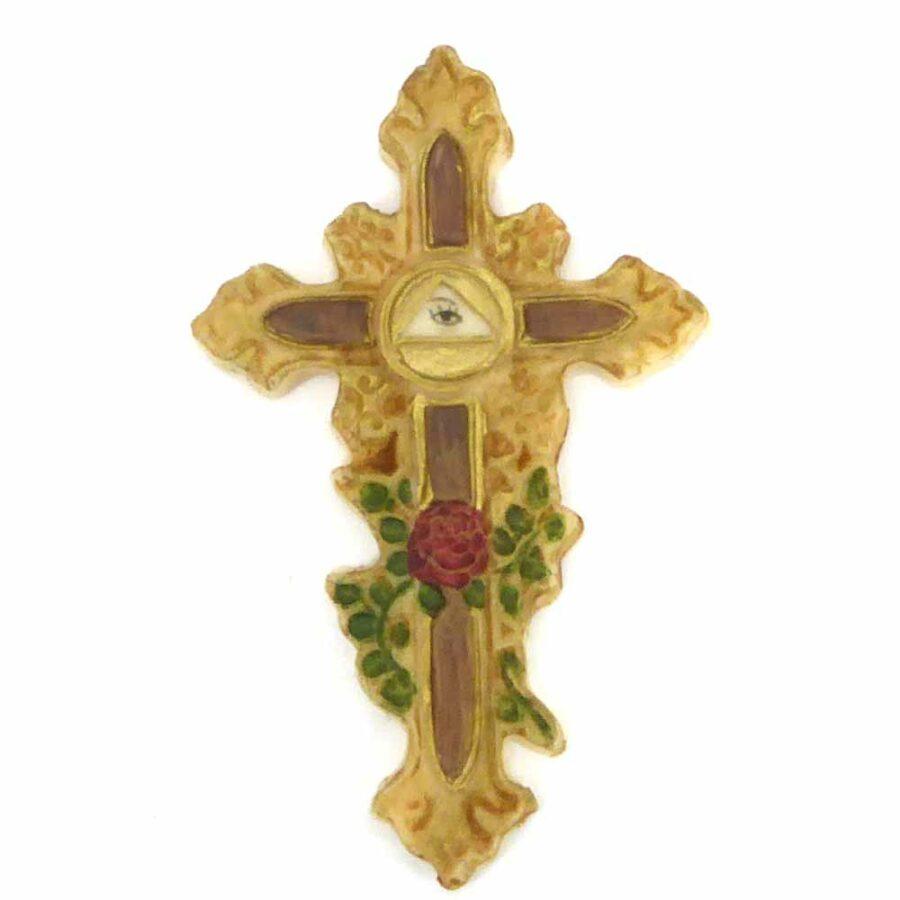 Kreuz aus Wachs mit dem Motiv Auge Gottes für Kerzen verzieren geeignet