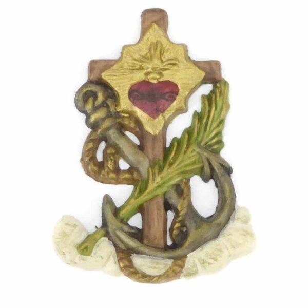 Kreuz aus handbemaltem Wachs zum verzieren von Kerzen