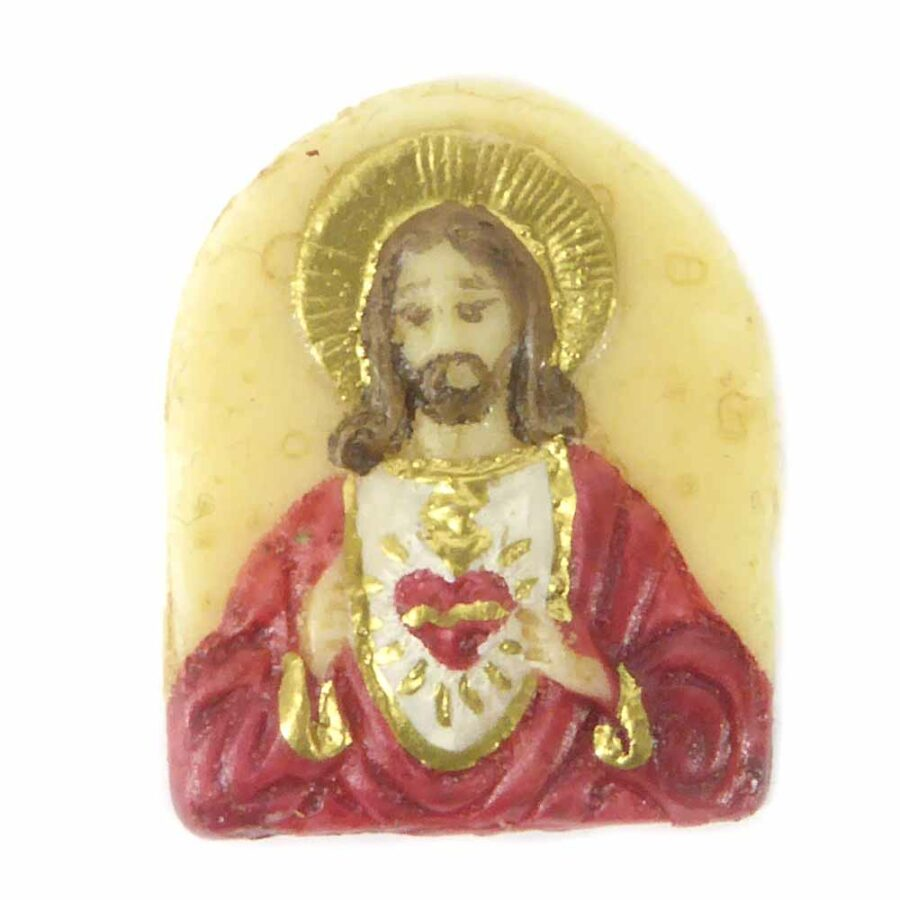 Medaillion mit Herz Jesu aus Wachs für Klosterarbeiten