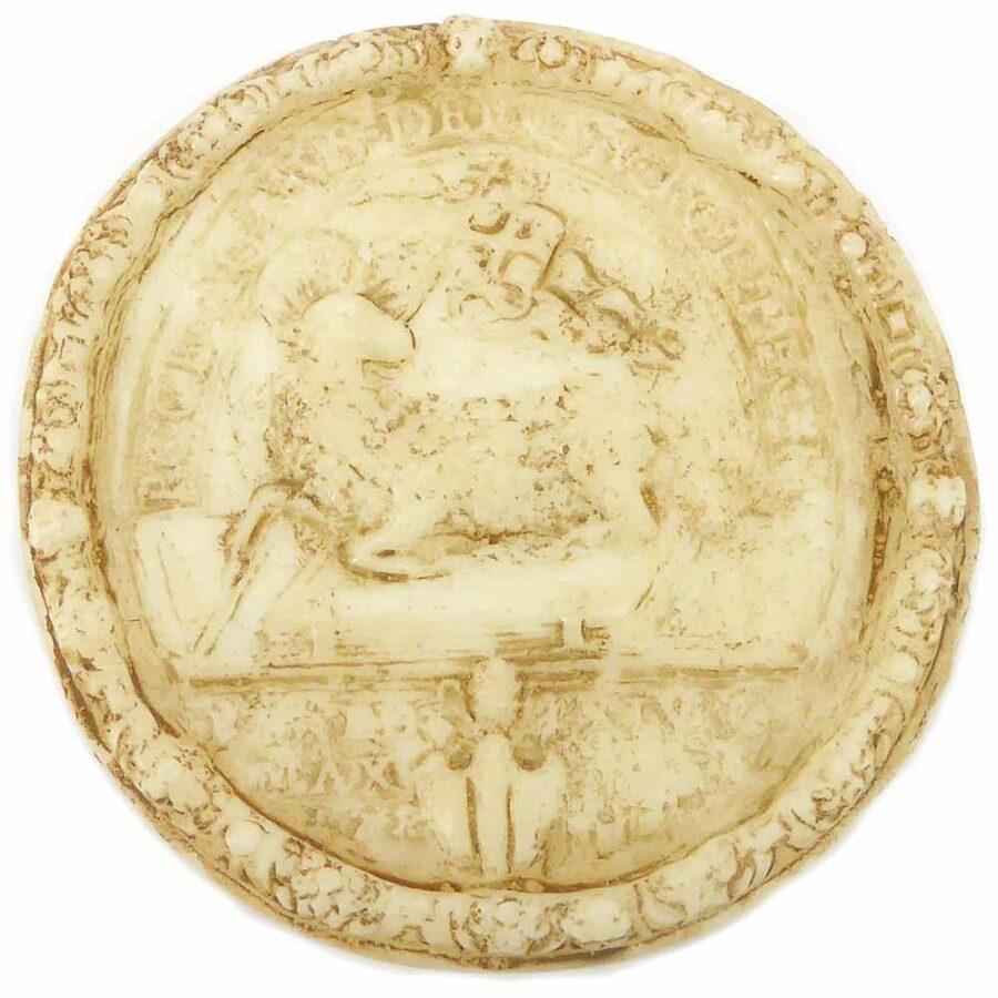 Medaillion mit Lamm Gottes aus Wachs für Klosterarbeiten