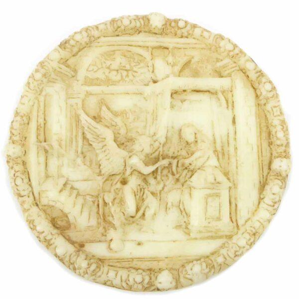 Medaillion mit Erzengel aus Wachs für Klosterarbeiten
