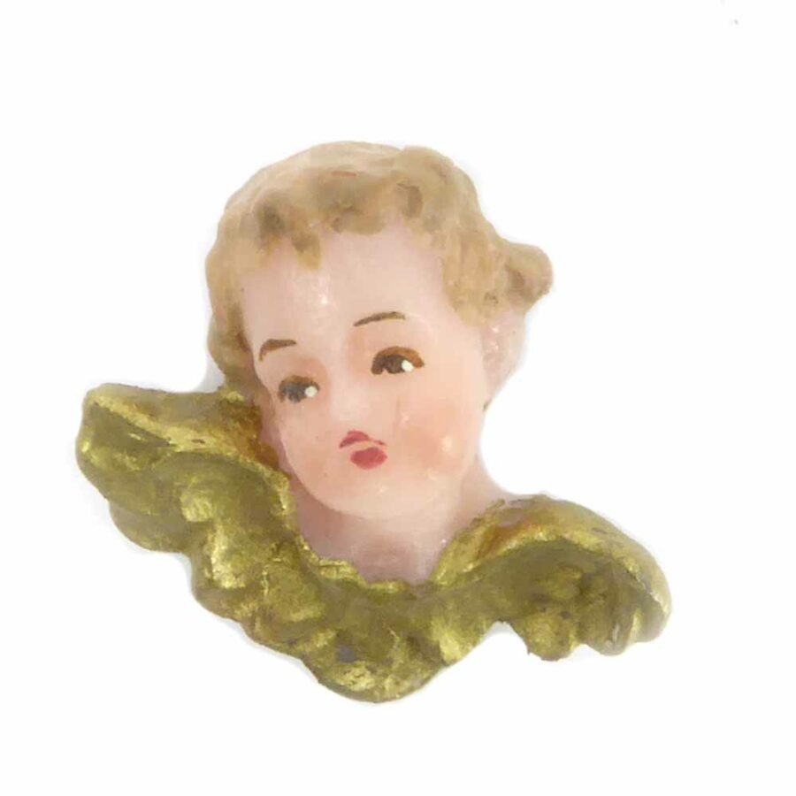 Engelkopf mit Flügel aus Wachs für Klosterarbeiten