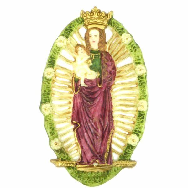 Medaillion aus handbemaltem Wachs mit Madonna für Klosterarbeiten