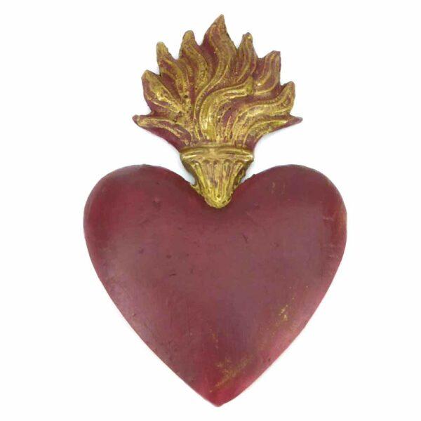 Flammendes Herz in rot aus handbemaltem Wachs für Klosterarbeiten