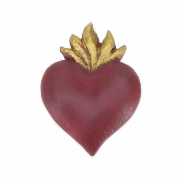 Flammendes Herz aus handbemaltem Wachs in rot