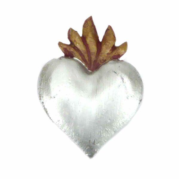 Flammendes Herz aus handbemaltem Wachs in silber für Klosterarbeiten