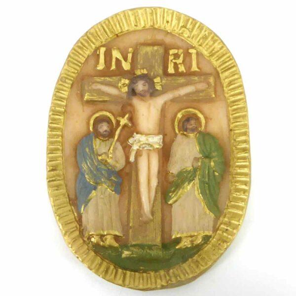 Medaillion aus handbemaltem Wachs mit dem Motiv Kreuz für Klosterarbeiten