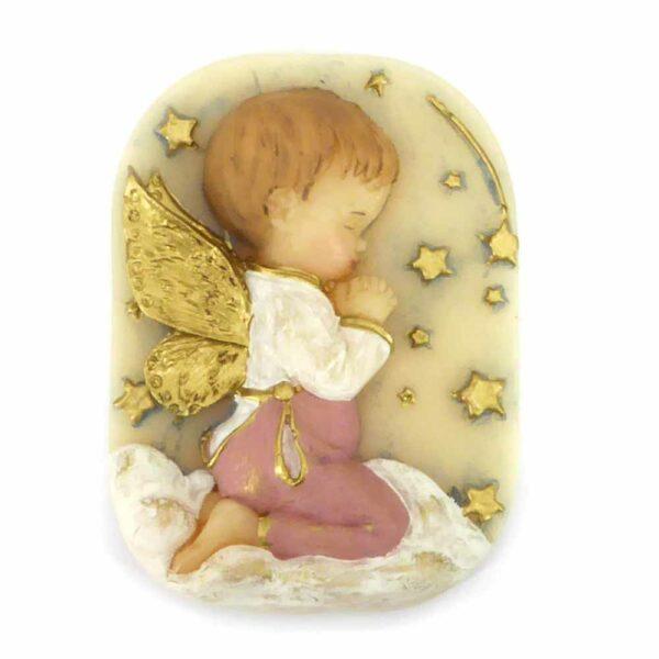 Medaillion aus handbemaltem Wachs mit Schutzengel für Klosterarbeiten