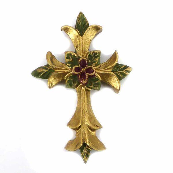 Kreuz mit Blumen und Blätter aus Wachs für Klosterarbeiten