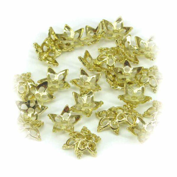 Perlkappen in gold-gebeizt und sternenförmig für Klosterarbeiten