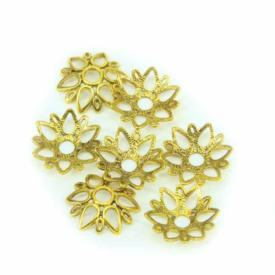 Perlkappen in antikgold sternenfoermig für Klosterarbeiten