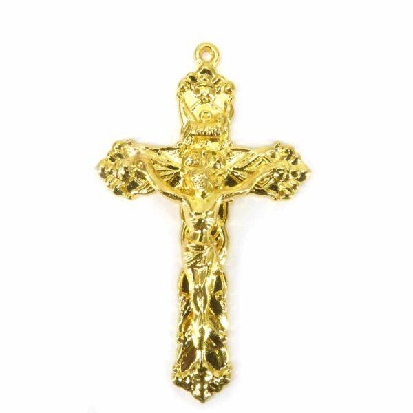 Metallkreuz in gold mit Öse für Rosenkranz oder Klosterarbeiten