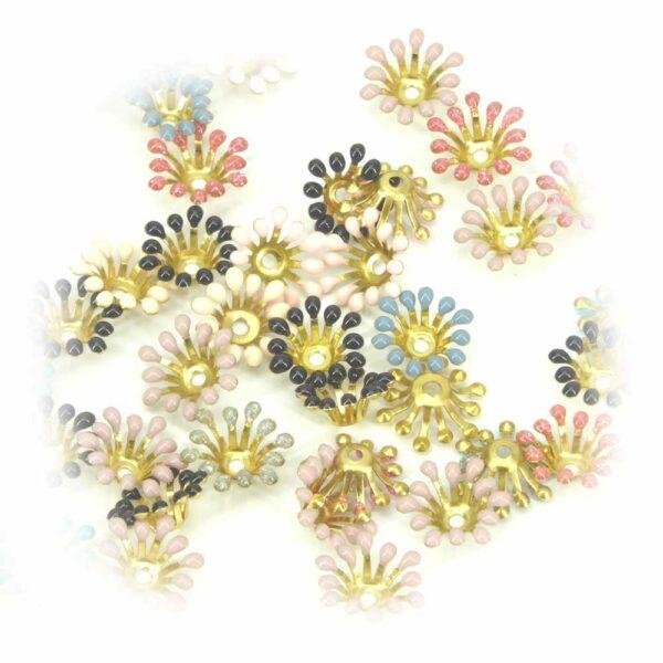 Perlkappen in gold mit emailierten Spitzen für Steine fassen