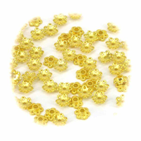 Perlkappen in gold-gebeizt in Form einer Blüte für Klosterarbeiten