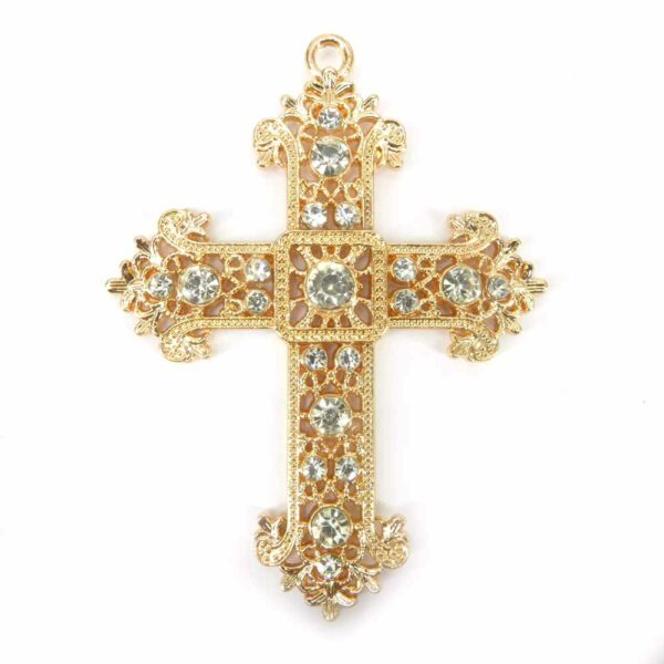 Metallkreuz mit Strass für Klosterarbeiten