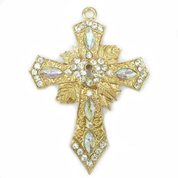 Metallkreuz mit Strass in gold für Klosterarbeiten