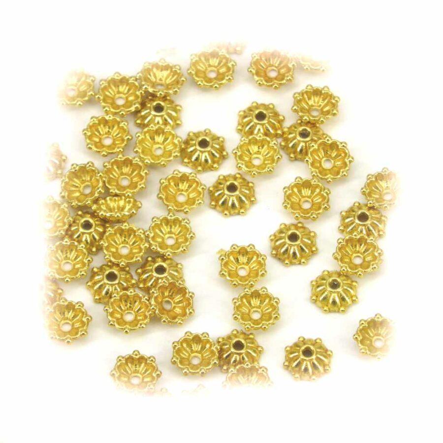 Perlkappen in gold-gebeizt für Klosterarbeiten