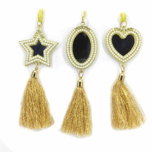 Spiegelhänger mit Perlen und Quaste in gold für Klosterarbeiten