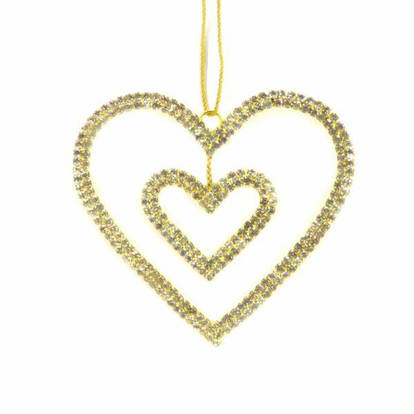 Strassherz aus Metall in gold für Weihnachtsschmuck