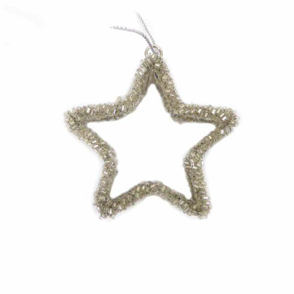 Glasperlenstern in silber für Weihnachtsschmuck