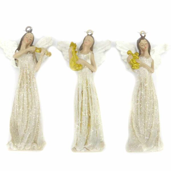 Engel in weiss mit gold-glimmer für weihnachtliche Klosterarbeiten