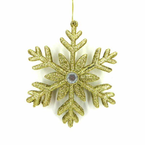 Schneeflocke aus Kunststoff zum teilen in gold für Klosterarbeiten