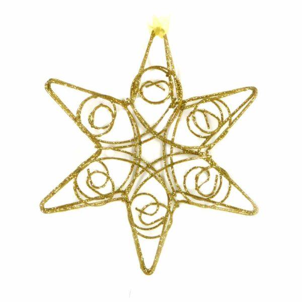 Drahtstern in gold-glimmer für weihnachtliche Klosterarbeiten