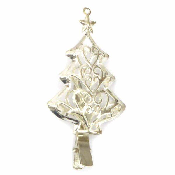 Metallbaum mit Klammer in silber für Weihnachtsschmuck