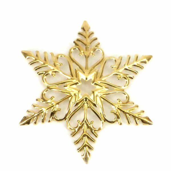 Schneeflocke aus Metall in gold glänzend für Klosterarbeiten