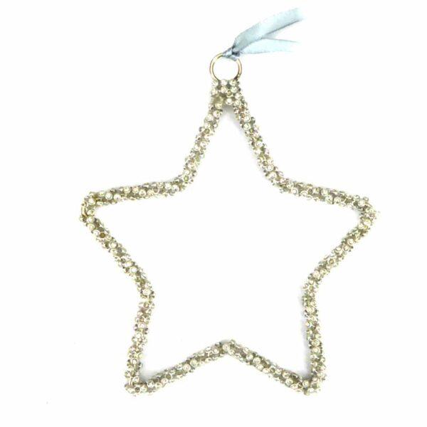 Stern aus Perlen in silber für Klosterarbeiten