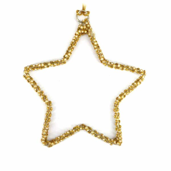Stern aus Perlen gedraht in gold für Klosterarbeiten