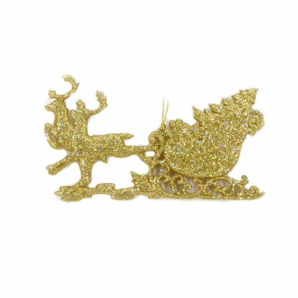 Schlitten in gold mit Glimmer und flach zum hängen
