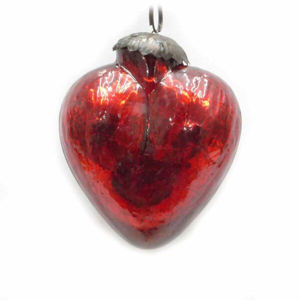 Glasherz in rot zum hängen für weihnachtliche Klosterarbeiten