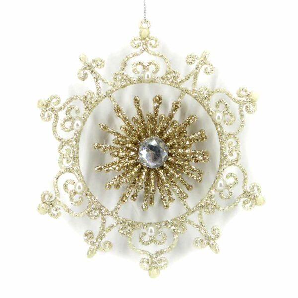 Stern aus Kunststoff in der Farbe creme-gold und filigraner Ausführung für Klosterrbeiten