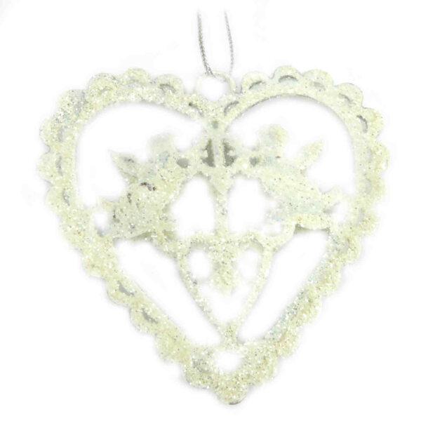Herzen aus Metall in weiss für Klosterarbeiten und Hochzeiten