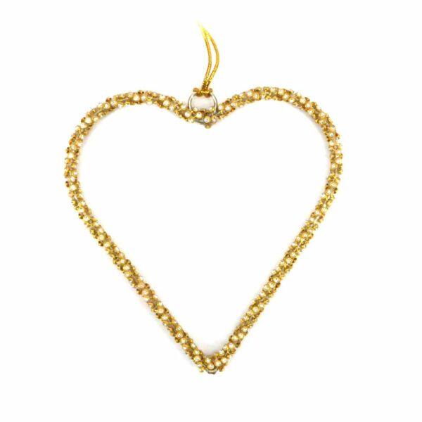 Herz aus Perlen in gold für Klosterarbeiten