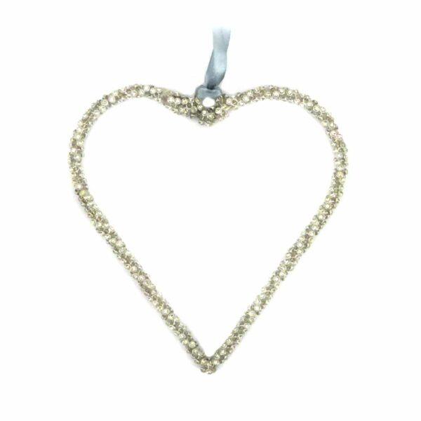 Herz aus Perlen in silber für Klosterarbeiten