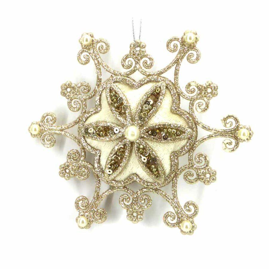 Schneeflocke in creme-silber mit Perlen für Klosterarbeiten